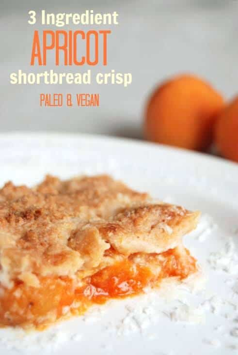 Need an easy healthy dessert? I can't believe how simple this 3 Ingredient Apricot Shortbread Crisp is! Typically an easy dessert is made with box mixes but this one is totally healthy - paleo with a low carb option.
