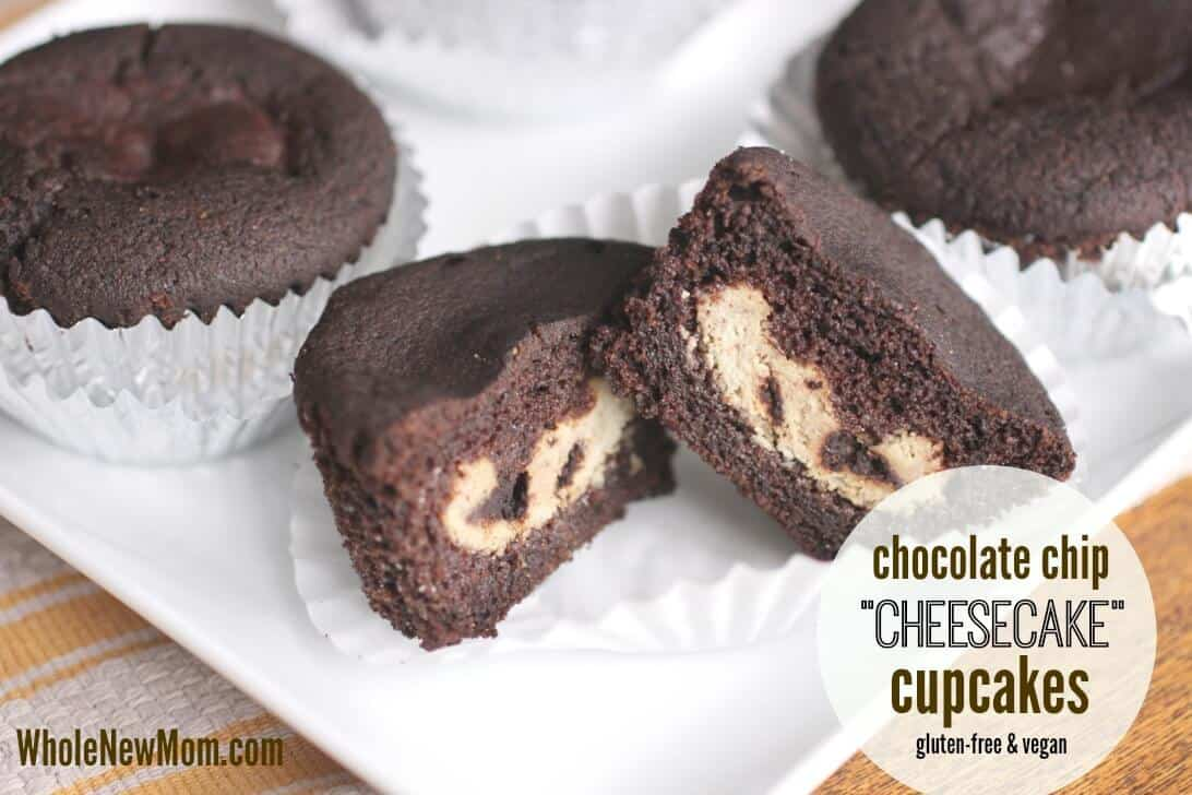 Chocolate Chip Vegan Cheesecake Cupcakes