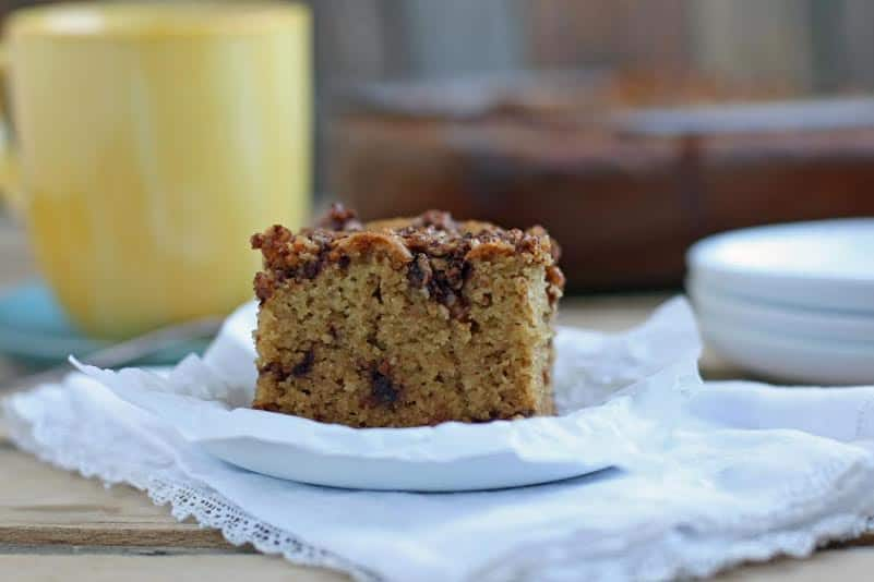Grain-Free Cinnamon Crumb Paleo Coffee Cake with vegan and low-carb options. THM:S