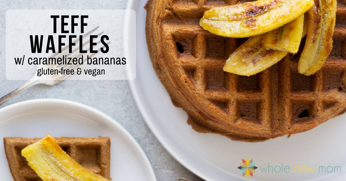 Teff Waffles -- a great gluten-free waffle recipe that has a rich taste almost like chocolate! The deep rich flavor of these vegan waffles is sure to please.