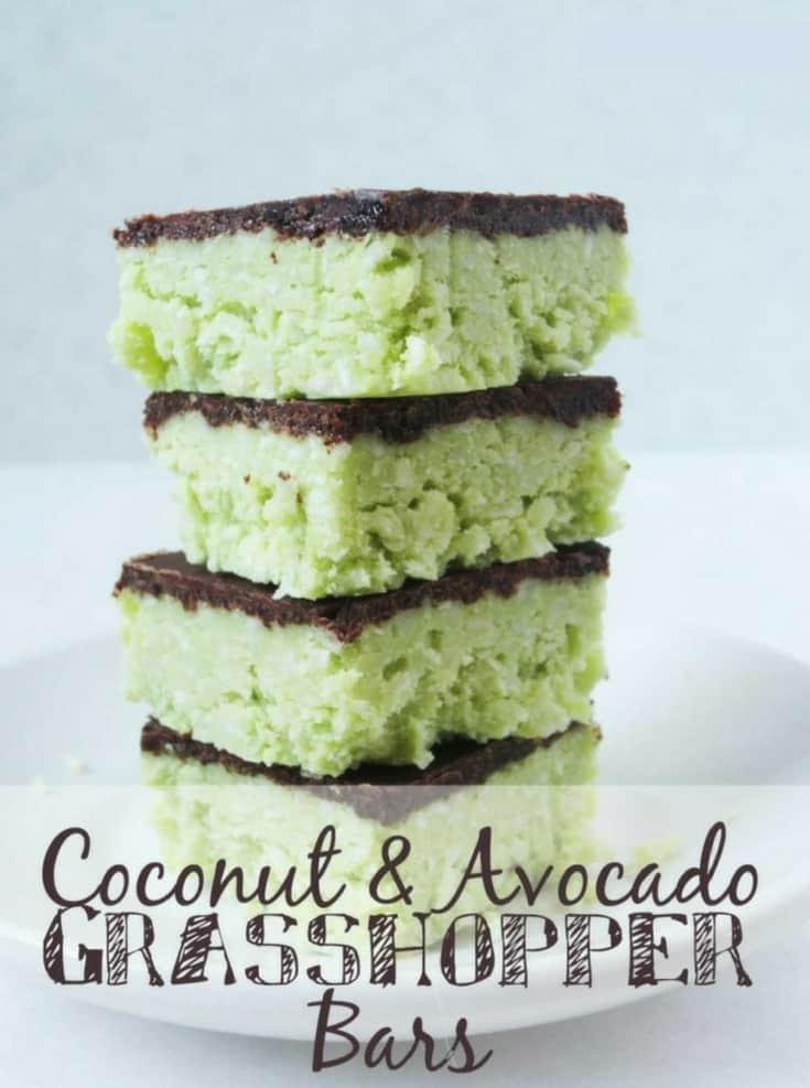 Chocolate and Avocado Grasshopper Bars - Chocolate Mint Bars - low carb, keto, sugar free, vegan, healthy, THM, easy